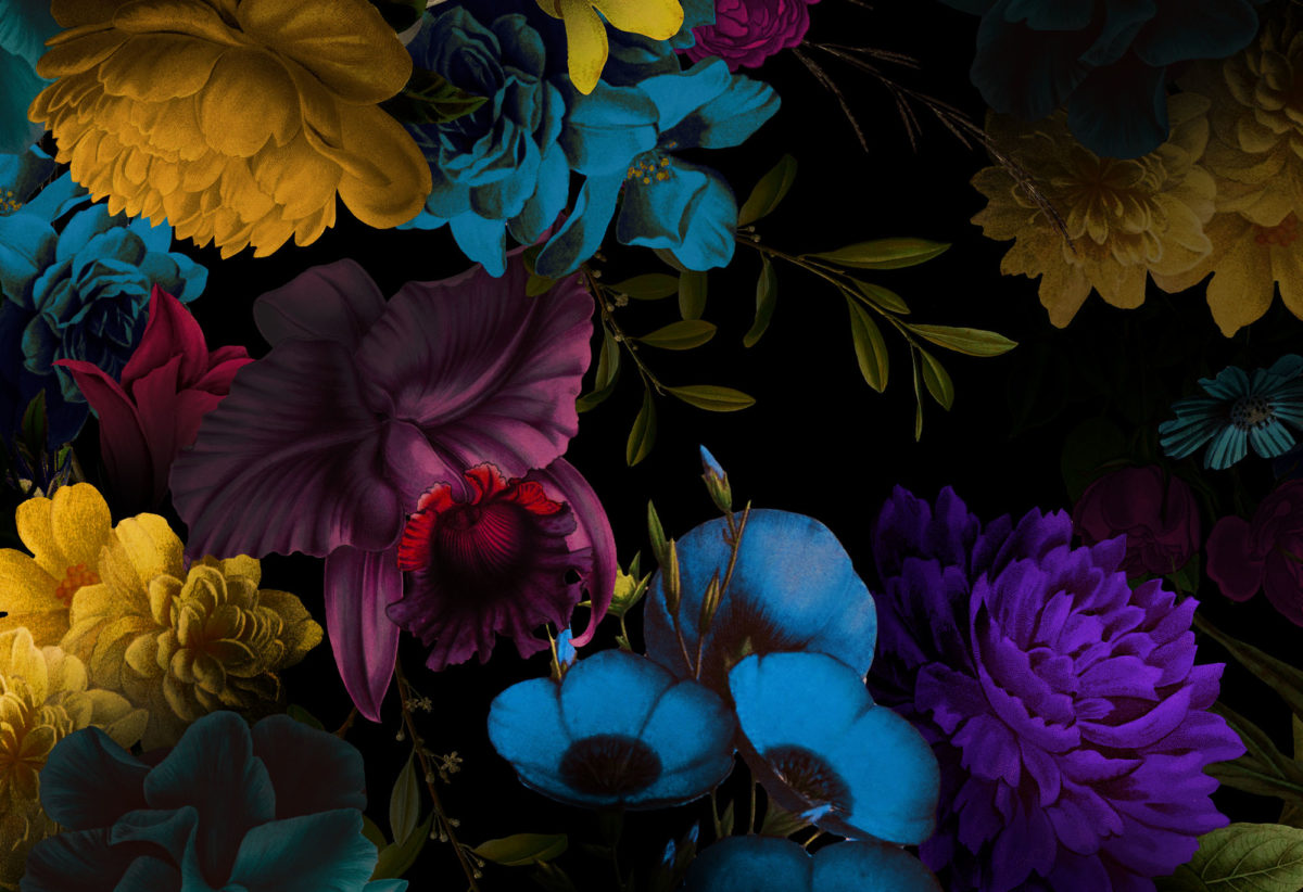 Dark Neon Floral Close up