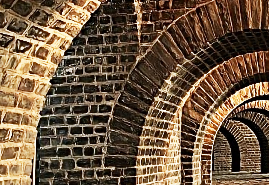 Brick Tunnel Wall Mural Close up view