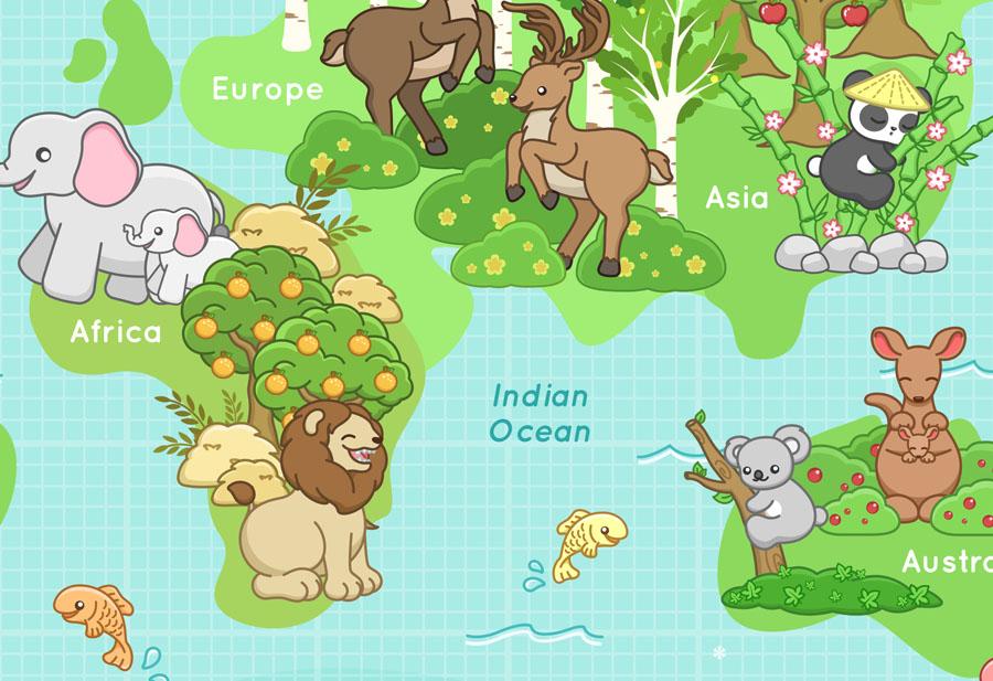 Happy Animals World Map Wallpaper