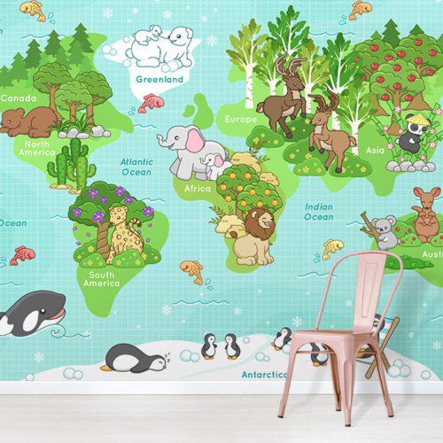 Happy Animals World Map Wallpaper design