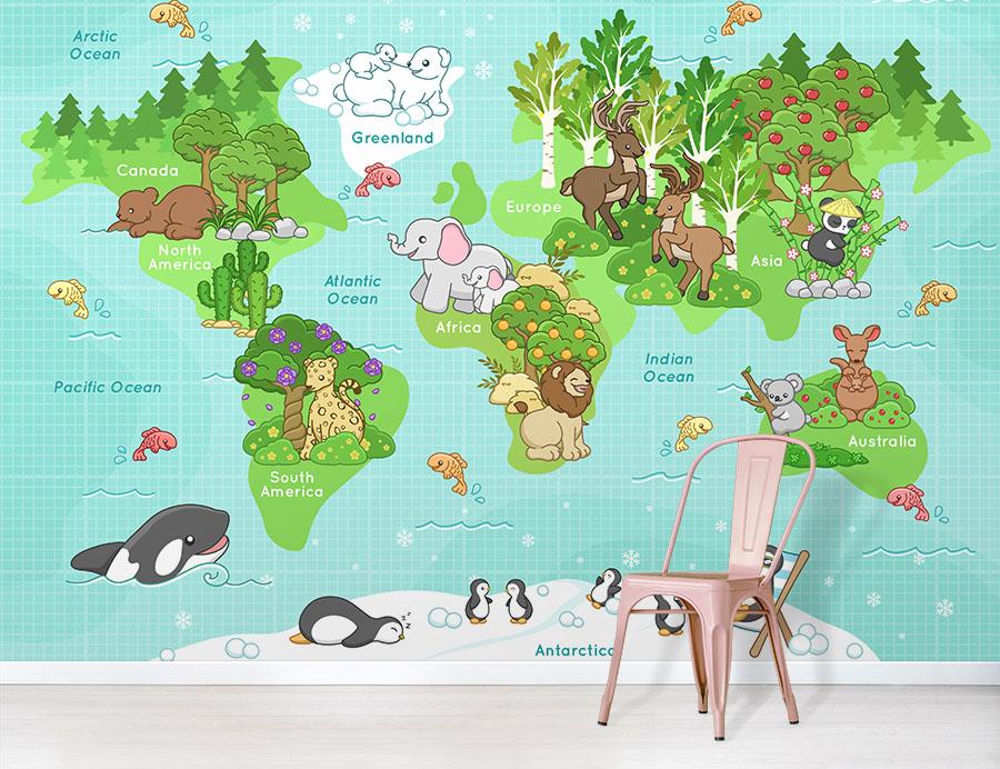 Happy Animals World Map Wallpaper design