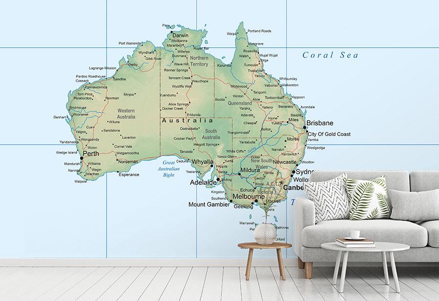 Australia Map Wall Mural
