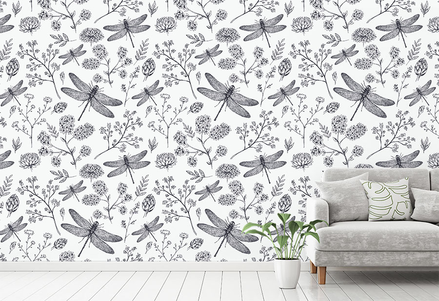 Dragonfly Wallpaper Mural in situ with sofa