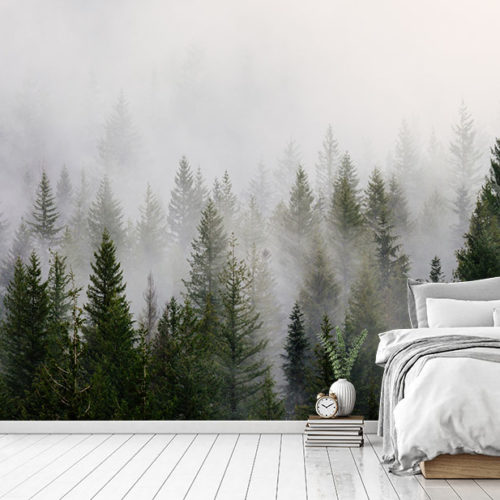 Misty Forest Landscape in the bedroom with bed