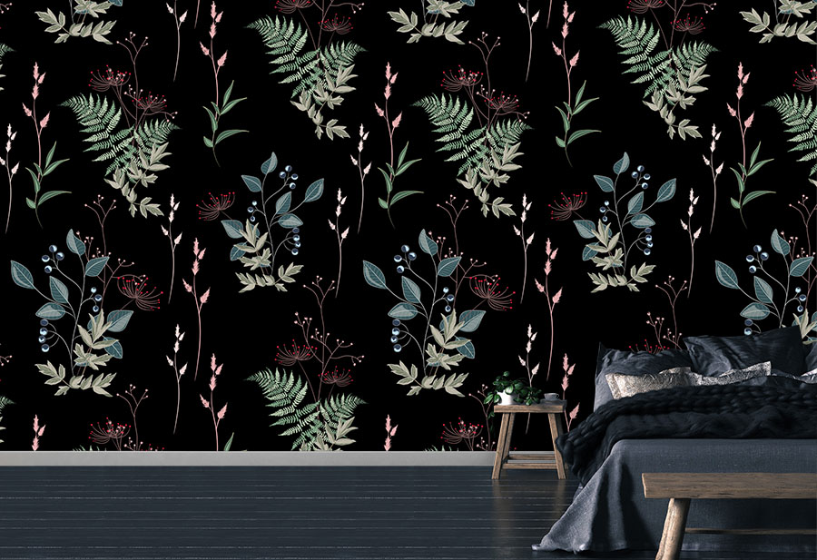 Midnight Botanical Wallpaper