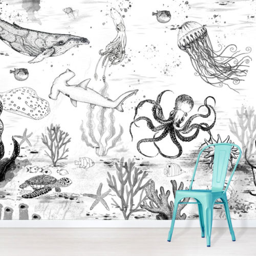 Black and White Under The Sea wallpaper mural with blue chair