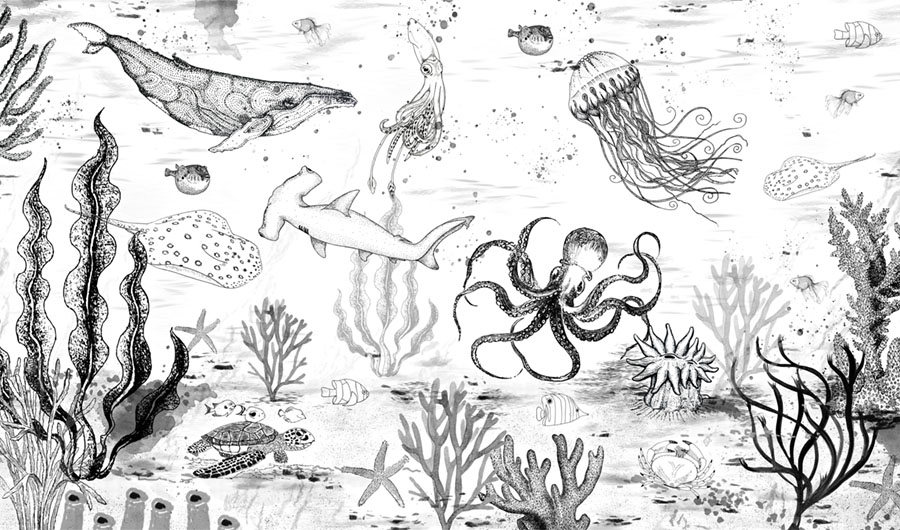 Black and White Under The Sea wallpaper mural