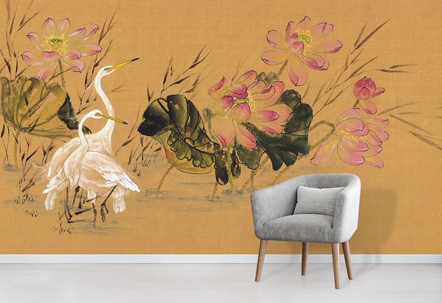 Egrets Amongst Lotus - Nikole Lowe Wallpaper Collection